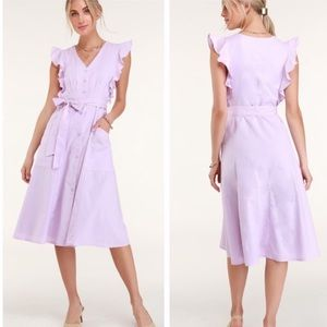 NWT Lulu's Sophie button front midi dress